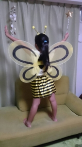 100均で買ったハチのコスプレ
